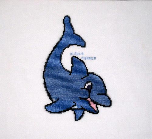 Klaudia Ł. kl.V, k.660 dla Kamilka #haft #delfin #morze