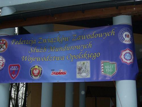 Baner Federacji Związków Zawodowych a na nim logo Straży Granicznej i Wojska. #Baner