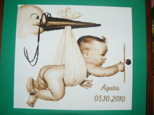 Bociania przesyłka taką metryczkę dla Darii będę wyszywać - urodzi się w maju :)