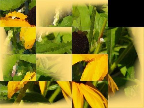 Wariacje na temat rudbekii-układanka #przeróbki #inaczej #rudbekia #kwiat #układanka